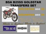 BSA B25 Goldstar SS 250cc Transfer Decal Set